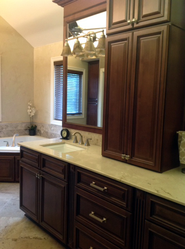 Copyright 2014 Kitchen Cabinet Discounts RTA left Vanity RTA Vanities Walnut Creek AFTER RTA MAKEOVER