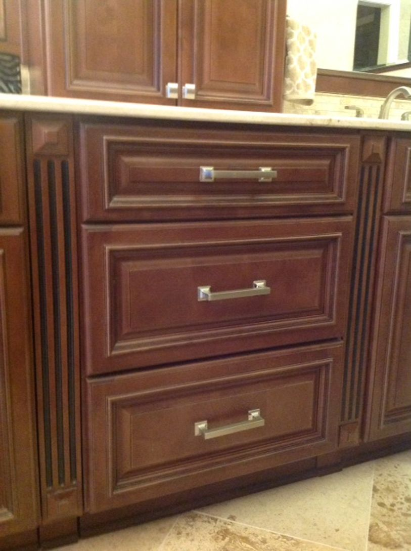Copyright 2014 Kitchen Cabinet Discounts Trina Walnut Creek RTA Bathroom Vanity Drawer Base AFTER Bathroom Makeover