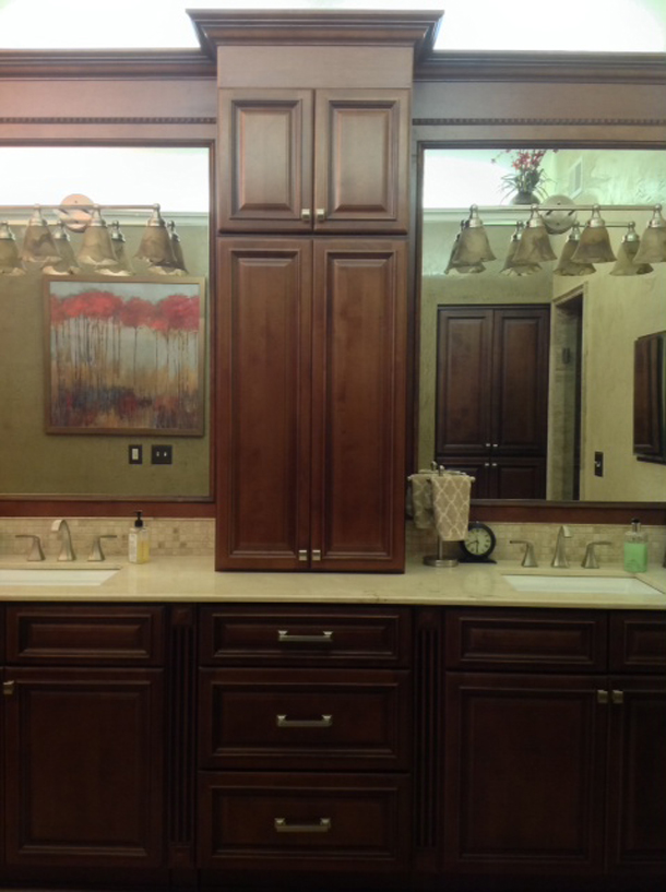 Copyright 2014 Kitchen Cabinet Discounts Trina WALNUT CREEK RTA Cabinets LIGHTS RA VAINTY AFTER MAKEOVER