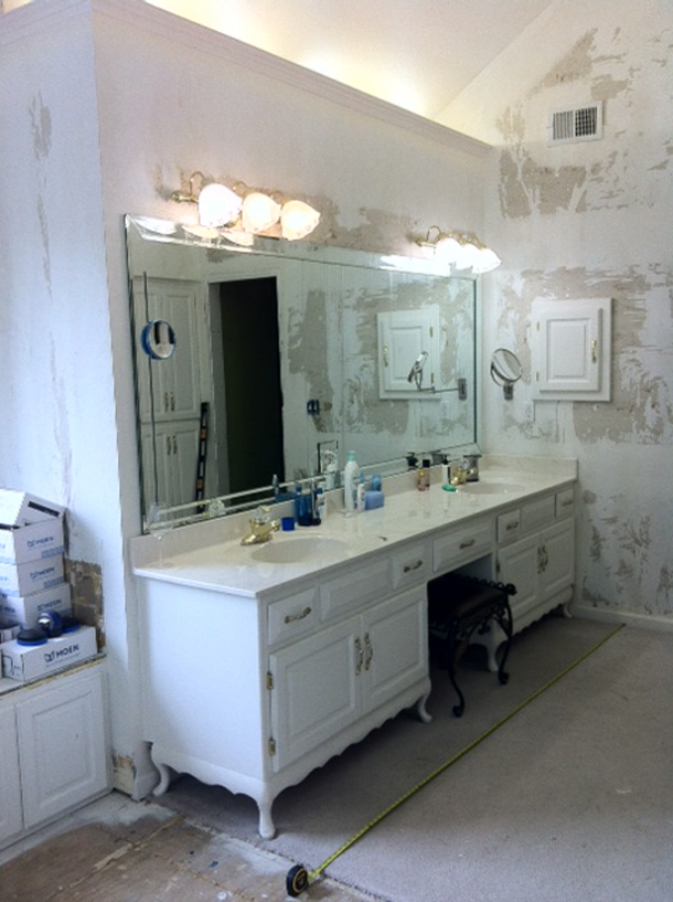 Copyright 2014  Kitchen Cabinet Discounts Vanity BEFORE Trina Bathroom Vanity Makeover